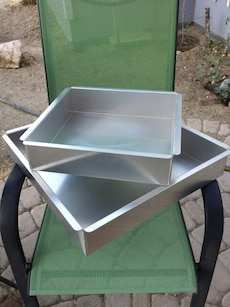 """square cake pans (12"""" & 16""""), used one time only"""