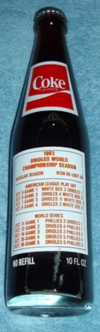 1983 World Champions Baltimore Orioles Coca Cola Bottle - Unopened North Bethesda