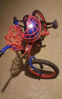 toddler's Spider-Man bicycle with training wheels