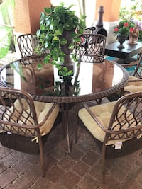 """79""""  glass round table + 6 chairs"""