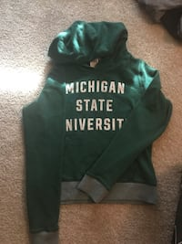 green and gray pullover hoodie