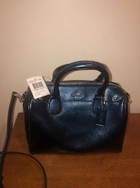 Coach Purse:MINI BENNET Leather Carryall Handbag - Metallic Midnight
