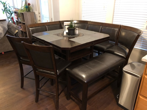 Awe Inspiring Dining Table Chairs And Large Bench Very Nice Squirreltailoven Fun Painted Chair Ideas Images Squirreltailovenorg