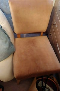 brown wooden frame white padded chair Edmonton, T6C 0V8