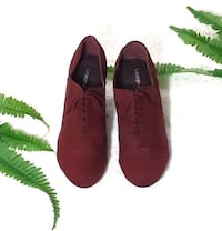 "GEORGE Women Burgundy Red Suede Oxford Lace up 3"" Heels Shoes, Size 6.5"