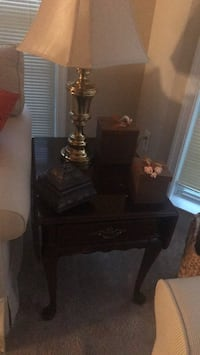 Beige lamp and table. Table slightly damage on top. Mastercraft product / overall good condition Bowie, 20720
