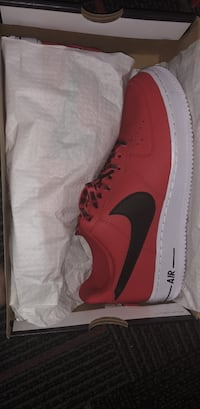 Red and black nike air force 1 low with box