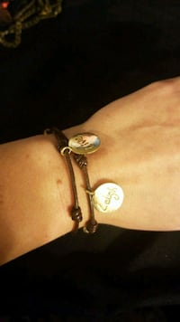 Brown leather wrap bracelet with 3 gold charms McLean, 22102