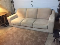 Free delivery: beige suede 3 seat couch Oakville, L6H