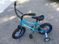 toddler's blue and black bicycle with training wheels Mississauga, L5C 1H6