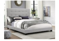 Queen Gray Panel Bed Frame Rollback