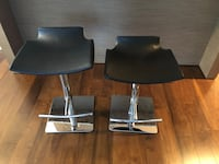 two black leather padded bar stools Vancouver, V6E