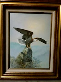 brown wooden framed painting of brown and white bird Las Vegas, 89141