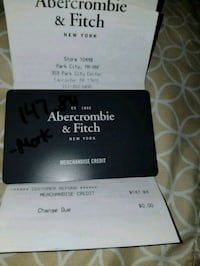 Abercromie store credit of 147.84 asking 100 cash Mountville, 17554
