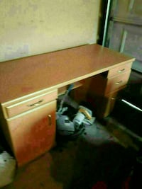 brown wooden double pedestal desk 1958 km