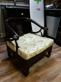 brown wooden framed white and black floral padded armchair Wilmington, 28401