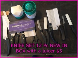 Knife Set 11 KNIVES NEW IN BOX WITH JUICER 12 PIECES For $5