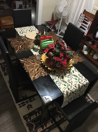 Glass table with 4 chairs set