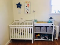 Mini Crib and Changing Table with grey bins.  Cheverly, 20785