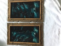 2 Velvet Paintings  Wood-Carved  Frames. Vintage 1970