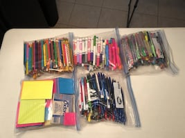 School and office supplies. Pens, pencils, paper
