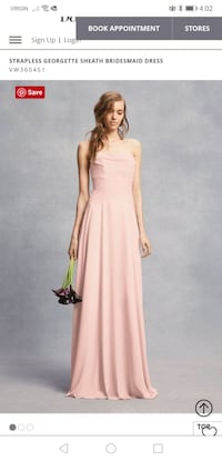 Vera Wang Blush Strapless Bridesmaid Dress. Springfield, N0L 2J0