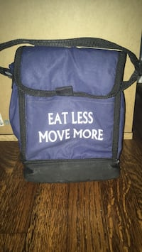 Eat Less Move More insulated lunch bag, 2 compartment