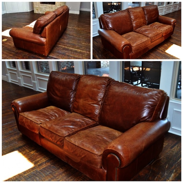 Restoration Hardware Original Lancaster Leather Sofa Full Grain Top Quality Aniline With Down Filled Cushions 88 Inches In Length The