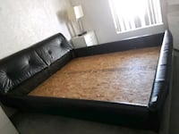 black leather bed frame with white mattress Las Vegas, 89149