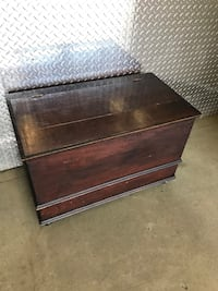 Wooden trunk 29 1/2 inches wide, 16 1/2 in deep, 19 inches tall