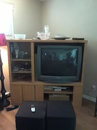 Oak entertainment center.