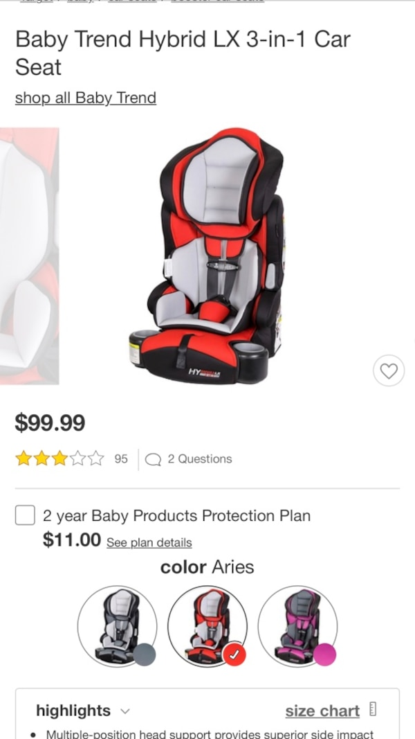 Toddler S Orange And Black Baby Trend Hybrid Lx 3 In 1 Car Seat