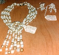 Vintage white and gold stamped necklace Austin, 78745