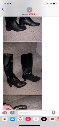Pair of black leather heeled boots Waterloo, 50701