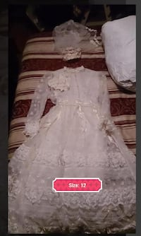Girl's White Lace Communion Dress