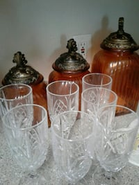 seven clear cut drinking glasses