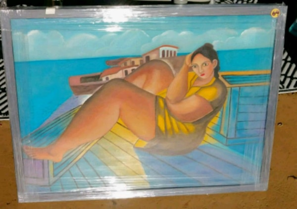 Framed in glass mediterranian lady painting