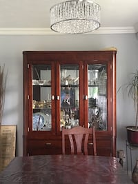Brown wooden china cabinet - NEGOTIABLE