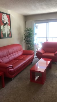 red leather 3-piece sofa set