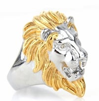 Gold/silver, Men's Lion 316L Stainless Steel Rock Punk Rings for Men Jewelry. New City, 10956