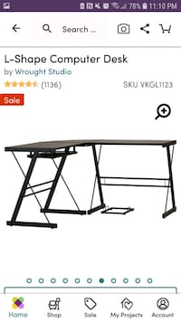 3 piece black glass desk Ashburn