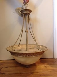 White and brown hanging lamp. Cobourg, K9A 1K6