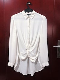 puting button-up na mahabang manggas shirt Makati City, 1223