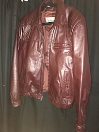 brown leather zip-up jacket Laurel, 20708