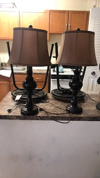 Two brown table lamps with brown lampshades 29 mi