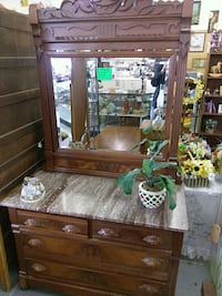 Marble top antique dresser and mirror $250