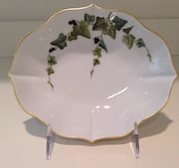 New Hochst Hand-Painted Porcelain Ivy Dish Made in Germany
