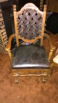 brown wooden framed gray padded armchair Candler, 28715