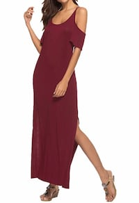 Brand new, never wore wine color, size large, Really cute Women's long Maxi Dress cold shoulder short sleeve with slide slit, Casual Long Dresses with Pockets, can be worn many different ways,   Good for Spring, Summer ,Fall and Winter, Party, Wedding, Cl Imperial, 63052