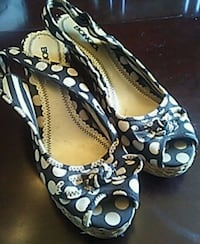 pair of grey and white polka-dot peep-toe heeled sandals Rochester
